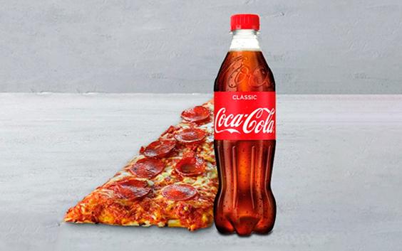 Pizzaslice og 50 cl. sodavand hos 7-eleven